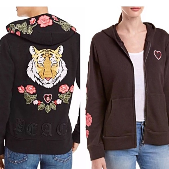 Chaser Tops - Chaser Peace Love Tiger Hoodie NWOT